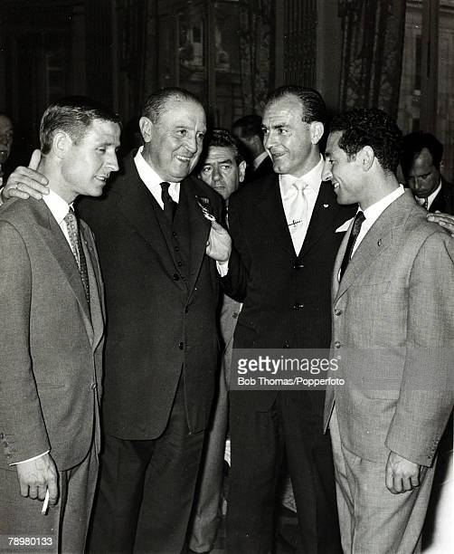 Madrid, Real Madrid President Santiago Bernabeu, 2nd left, with Raymond Kopa, left, and Alfredo Di Stefano and Gento at a celebration party after...