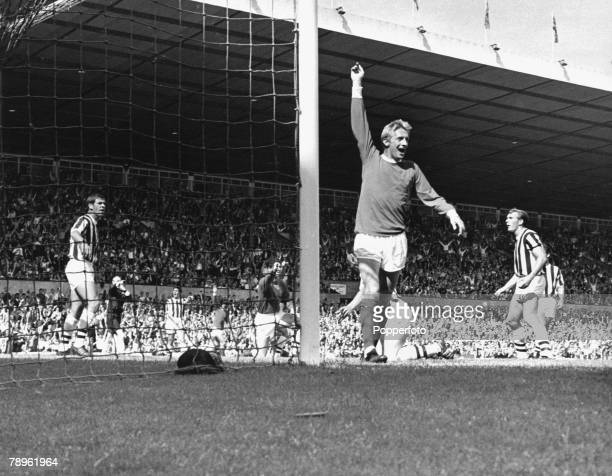 1960's Manchester United v West Bromwich Albion at Old Trafford Manchester United's celebrates after scoring his goal against West Bromwich Albion