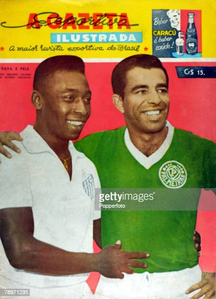 1962 The front cover of sports magazine A Gazeta Esportiva Ilustrada shows the Brazilian international stars Pele left and Vava in their club strips...