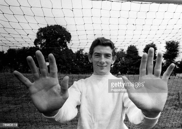 1964 Tottenham Hotspur goalkeeper Pat Jennings shows off a safe pair of hands
