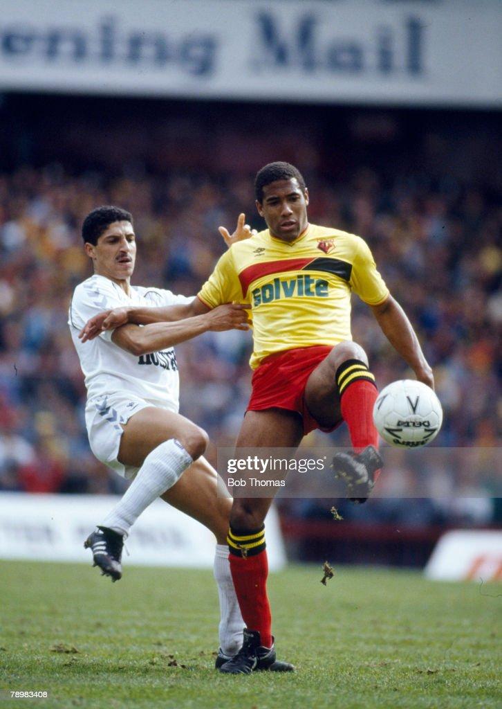 Sport. Football. pic: 1970's. pic: 11th April 1987. FA Cup Semi-Final at Villa Park. Tottenham Hotspur 4 v Watford 1. Tottenham Hotspur's Chris Hughton, left and Watford's John Barnes contest a high ball. : News Photo