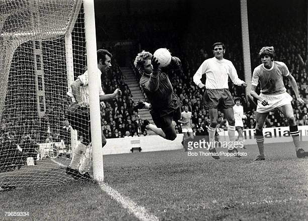 1971 Division One Manchester City v Leeds United at Maine Road Leeds United goalkeeper Gary Sprake watched by his defenders Paul Reaney and Norman...