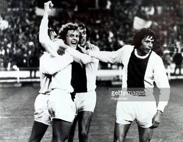 1971 European Cup Final at Wembley Ajax Amsterdam 2 v Panathinaikos 0 Ajax players celebrate after Arie Haan had scored the 2nd goal