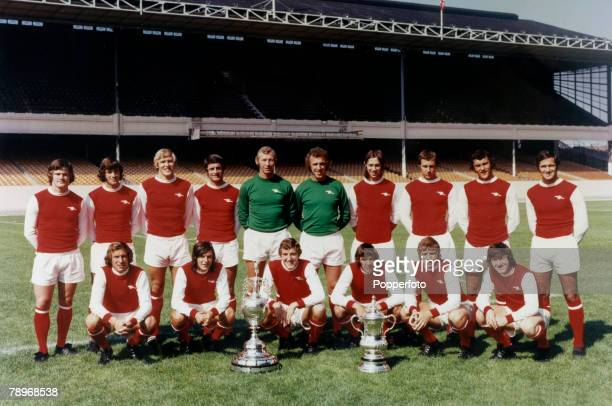 1971 Highbury London Arsenal FC Winners of the Double FA Cup and League Championship Back row leftright Pat Rice Peter Storey John Roberts Frank...
