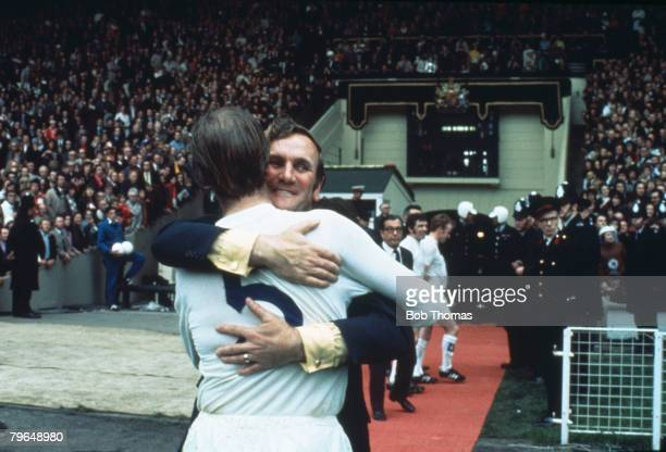 1972 FA Cup Final at Wembley Leeds United 1 v Arsenal 0 Leeds United Manager Don Revie hugs defender Jack Charlton at the end