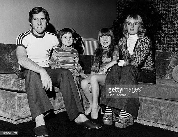 Arsenal's Alan Ball with his wife Lesley and their children Keely and Miranda