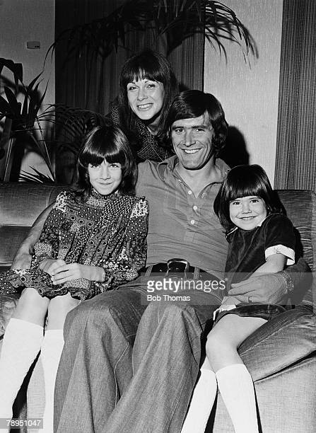 1975 Arsenal's Peter Simpson at home with his wife Ann and daughters Dana and Leah