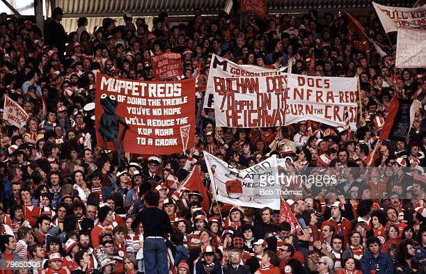 1977 1977 FACup Final at Wembley Manchester Unitedv Liverpool Colourful Manchester United fans with flags and banners