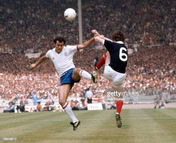 1977 British Championship at Wembley England 1 v Scotland 2 England's Ray Kennedy jumps for a high ball with Scotland's Bruce Rioch right Ray Kennedy...