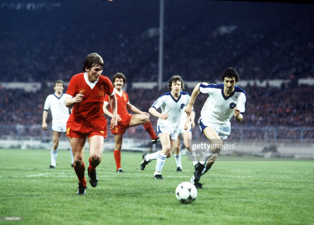 Sport. Football. pic: 1978. 1978 European Cup Final at Wembley. Liverpool 1. v Bruges 0. Liverpool's Kenny Dalglish races through to score the winner. Kenny Dalglish had a long career at Liverpool both as player and manager, 1977-1989, winning League, F.A : News Photo