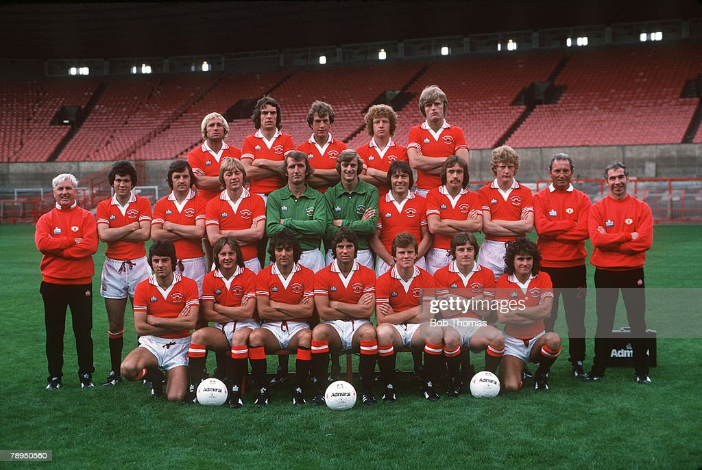 1978, Manchester United 1978 - 1979, Back row, left - right, Jimmy Greenhoff, Joe Jordan, Stewart Houston, Jimmy Nicholl, Gordon McQueen, Middle Row, left - right, Tommy Cavanagh (Coach), Chris McGrath, Alex Forsyth, Brian Greenhoff, Alex Stepney, Paddy Roche, Stuart Pearson, Sammy McIlroy, Ashley Grimes, Dave Sexton (Manager), Laurie Brown (Physio), Front row, left - right, Martyn Rogers, David McCreery, Lou Macari, Martin Buchan, Andy Ritchie, Steve Coppell, Arthur Albiston