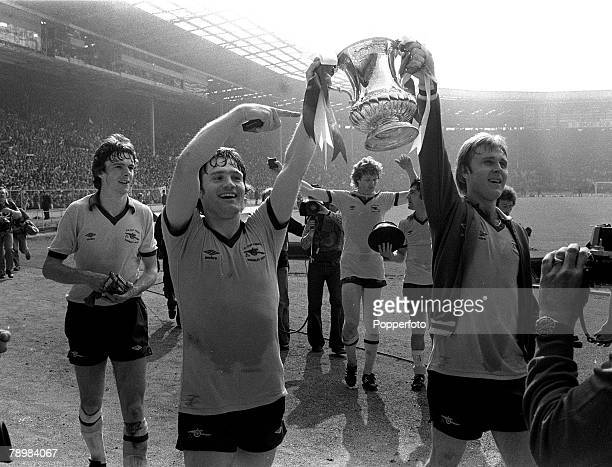 1979 1979 FA Cup Final at Wembley Arsenal 3 v Manchester United 2 Arsenal's lr captain Pat Rice and David Price with the FA Cup on the lap of honour