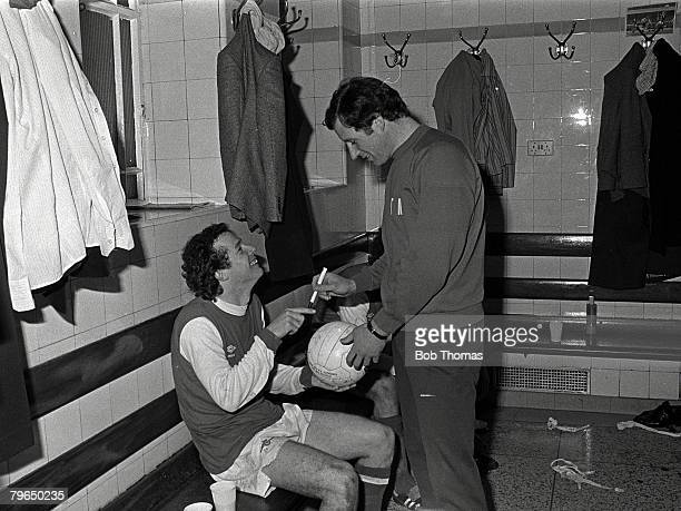 1979 Arsenal Manager Terry Neill with star player Liam Brady in the dressing room