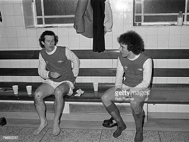 1979 Arsenal's Liam Brady left and Alan Sunderland in the Arsenal dressing room