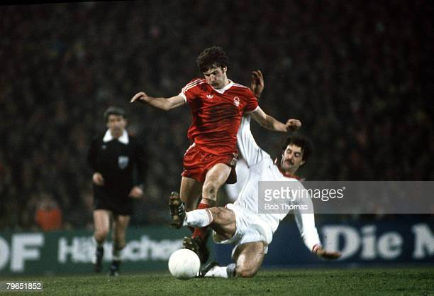 1979 European Cup Semi Final 2nd Leg Cologne 0 v Nottingham Forest 1 Nottingham Forest's Gary Birtles red is tackled by Cologne defender Strack