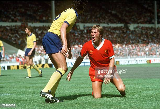 1979 FA Charity Shield at Wembley Liverpool 3 v Arsenal 1 Liverpool striker Kenny Dalglish shouts his frustration as Arsenal defender David O'Leary...