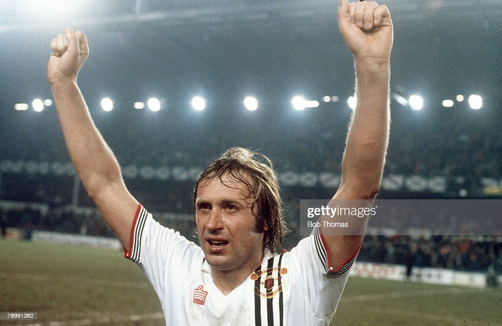 Sport. Football. pic: 1979. FA.Cup Semi-Final. Manchester United v Liverpool. Manchester United's Jimmy Greenhoff celebrates after his goal had beaten Liverpool at Goodison Park. : News Photo
