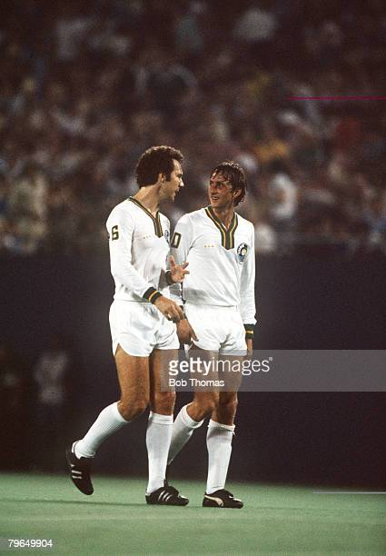 1979 Johan Cruyff right who played a number of exhibition games for New York Cosmos pictured with Cosmos star Franz Beckenbauer Johan Cruyff one of...