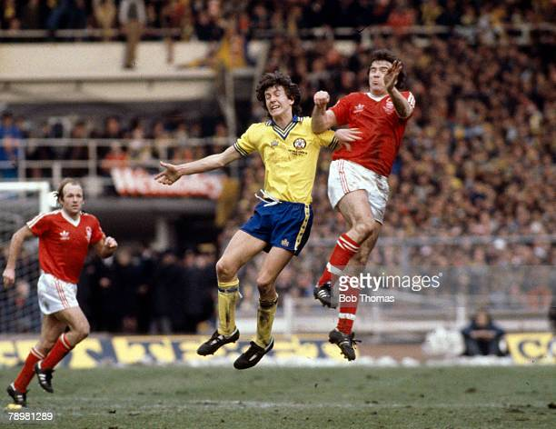 1979 League Cup Final at Wembley Nottingham Forest 3 v Southampton 2 Southampton's Steve Williams jumps high with Nottingham Forest's John Robertson...
