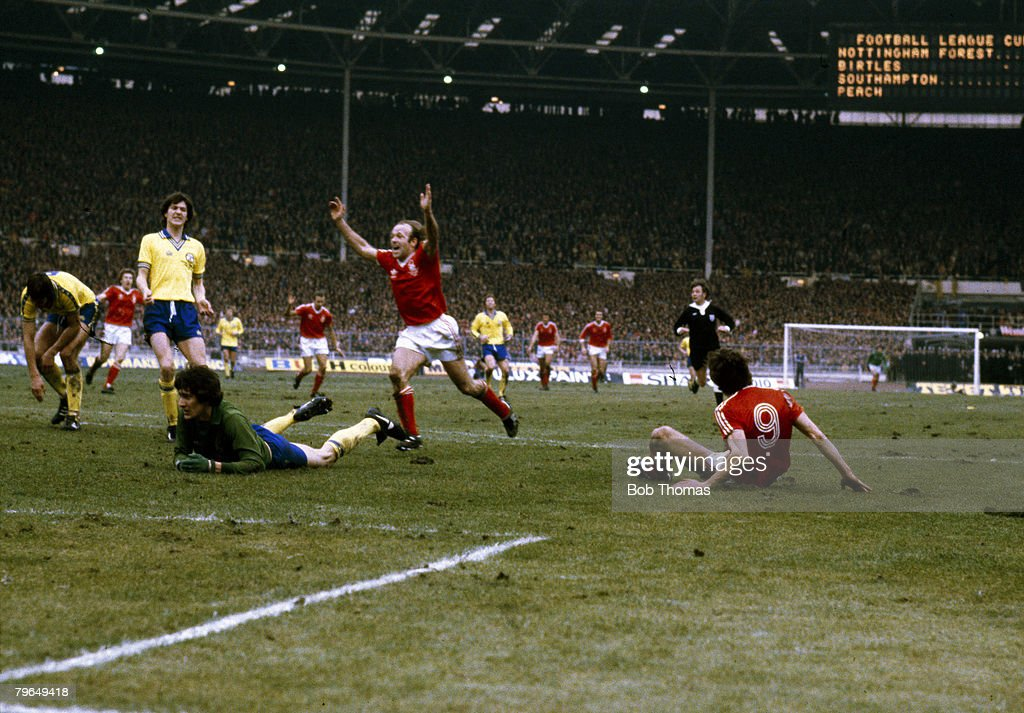 BT Sport, Football, pic: 1979, League Cup Final at Wembley, Nottingham Forest 3 v Southampton 2, Nottingham Forest striker Garry Birtles, 9, has scored their 2nd goal as Archie Gemmill celebrates : News Photo