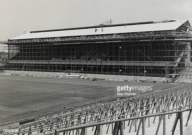 1979 New roof for the East Stand at Highbury Building work in progress at Arsenal during the close season as Highbury's main stand is covered with...