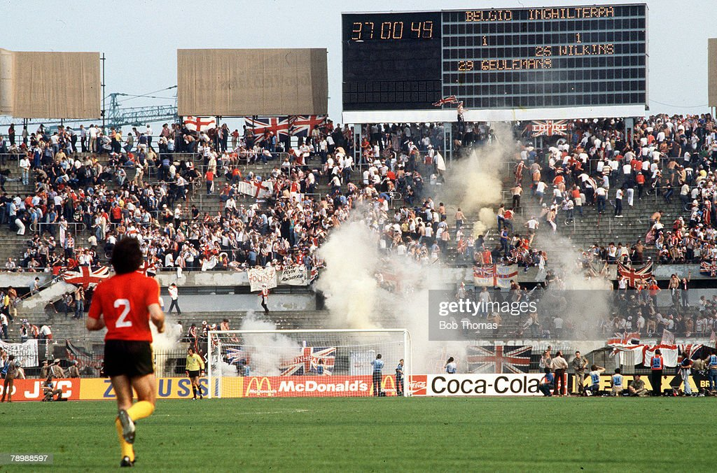 1980, European Championship in Turin, England 1, v Belgium 1, Italian riot police fire teargas into the English fans