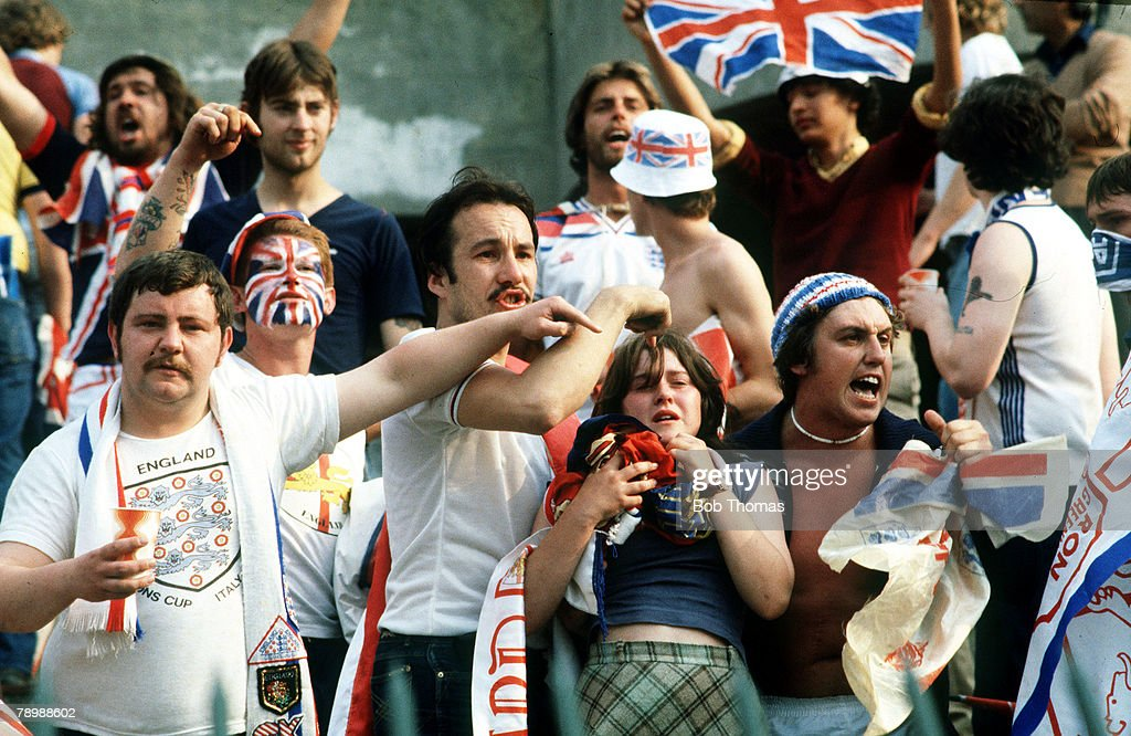 1980, European Championship in Turin, England 1, v Belgium 1, England fans gesture angrily at Italian riot police who had fired teargas into the English fans