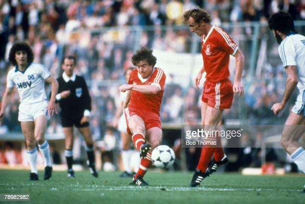 European Cup Final in Madrid, Nottingham Forest 1 v Hamburg 0, Nottingham Forest's John Robertson shoots to score the winning goal, as Ian Bowyer...