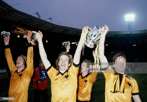 1980 League Cup Final at Wembley Wolverhampton Wanderers 1 v Nottingham Forest 0 'Wolves' players leftright Kenny Hibbitt Andy Gray Willie Carr and...