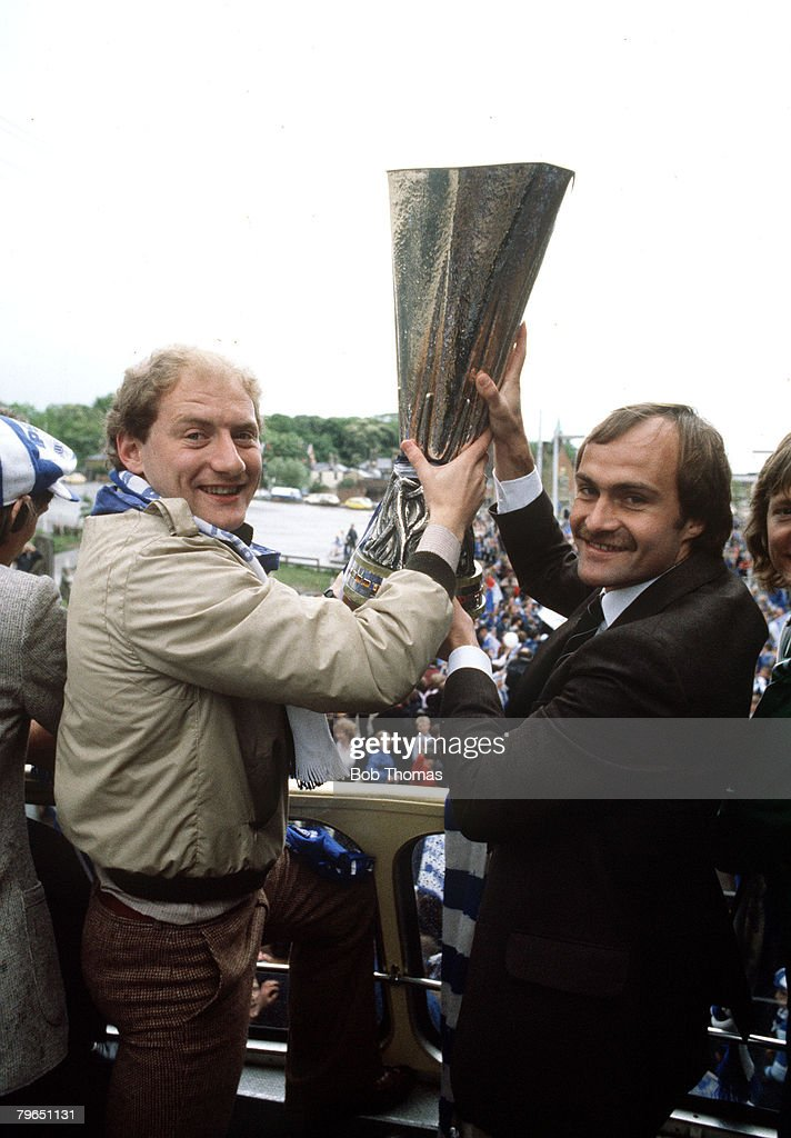 Sport, Football, pic: 1981, The 1981 UEFA Cup winners Ipswich Town parading the trophy with players Alan Brazil and Mick Mills, right, as the team are on the way to a Civic Reception at the Town Hall : News Photo