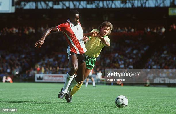 1982 Division 1 Norwich City v Southampton Southampton's Justin Fashanu clashes with Norwich City's Mick McGuire
