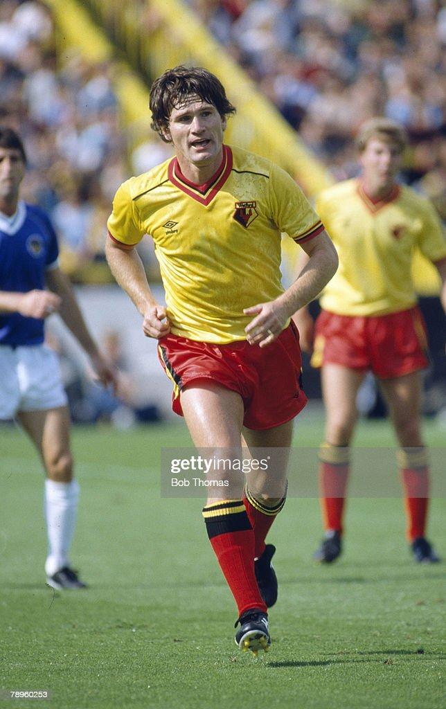 Sport. Football. pic: 1982. Division 1. Watford 2 v Everton 0. Pat Rice, Watford full back. Pat Rice played for Arsenal 1965-1981 and won 49 Northern Ireland caps between 1969-1980. : News Photo