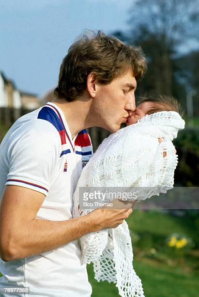 1982 Ipswich Town and England defender Terry Butcher with his young son Christopher