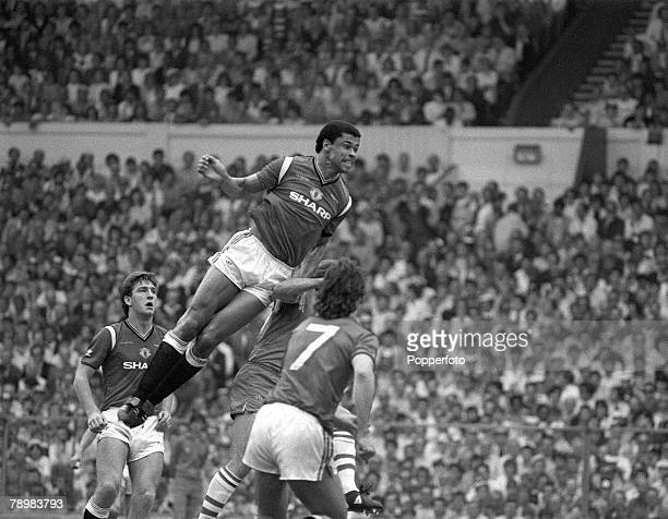 1983 1983 FA Cup Final at Wembley Manchester United 2 v Brighton Hove Albion 2 aet Manchester United's Paul McGrath leaps high to head clear