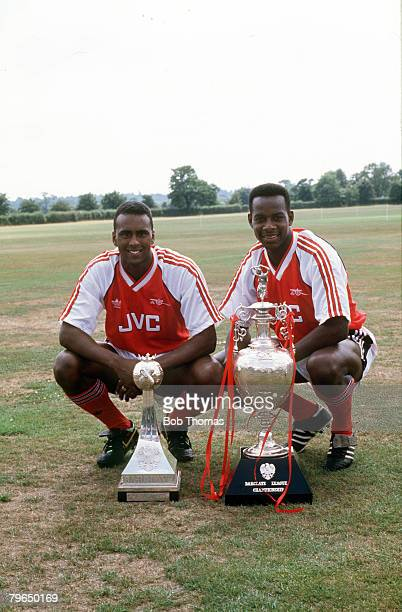 1989 Arsenal's David Rocastle left and Michael Thomas with the First Division Championship trophies Michael Thomas clinched the Championship for...