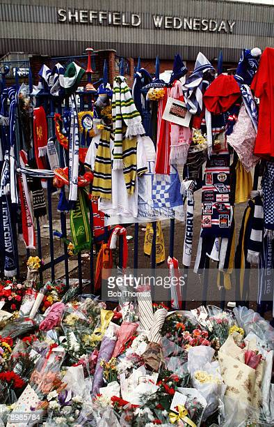Hillsborough Tragedy, Scarves and flowers at the gates to Hillsborough Stadium, Sheffield in memory of the great loss of life which took place in the...