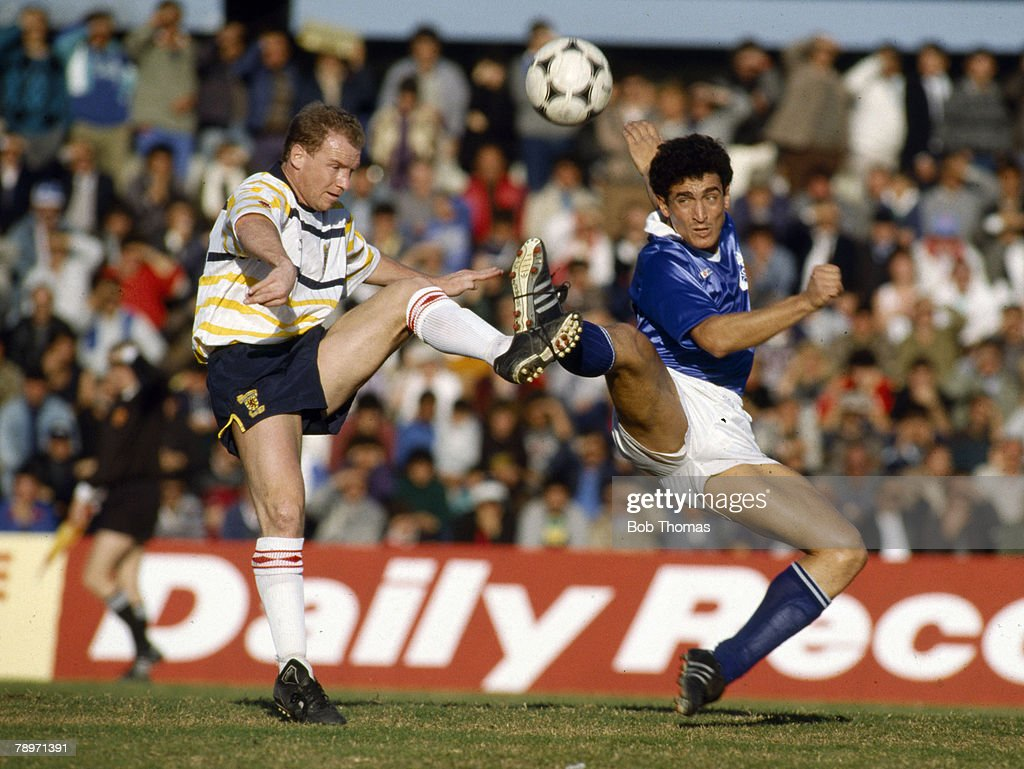 BT Sport. Football. pic: 1989. World Cup Qualifier in Limassol. Cyprus 2 v Scotland 3. Scotland's David Speedie contests the ball with George Christodoulou of Cyprus. David Speedie won 10 Scotland international caps between 1985-1989. : News Photo
