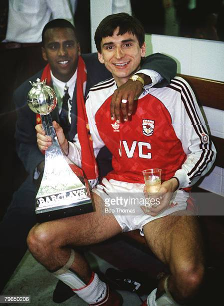 1991 Arsenal striker Alan Smith celebrates with David Rocastle behind after winning the League Championship for season 19901991