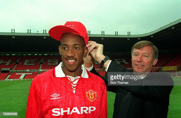1992 Dion Dublin Manchester United's new signing with the United Manager Alex Ferguson at Old Trafford