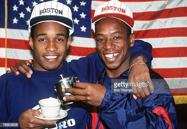 England tour of the USA, Paul Ince, left and Ian Wright in a lighthearted moment as the England players, wearing their Boston hats, create their own...