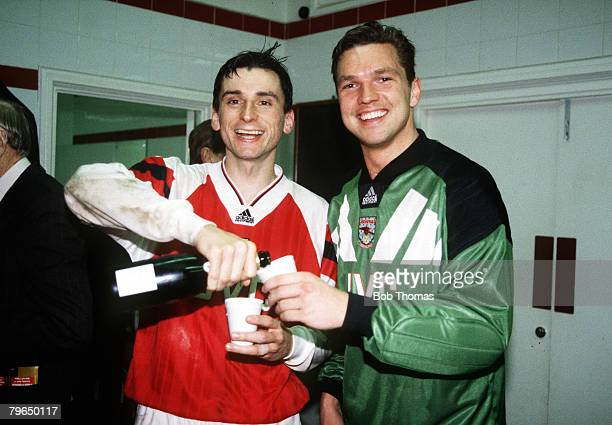 1994 European Cup Winners Cup SemiFinal 2nd Leg Arsenal 1 v Paris St Germain 0 Arsenal's lr Alan Smith and Alan Miller celebrating in the dressing...