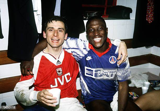1994 European Cup Winners Cup SemiFinal 2nd Leg Arsenal 1 v Paris St Germain 0 Arsenal strikers lr Alan Smith and Kevin Campbell celebrating in the...