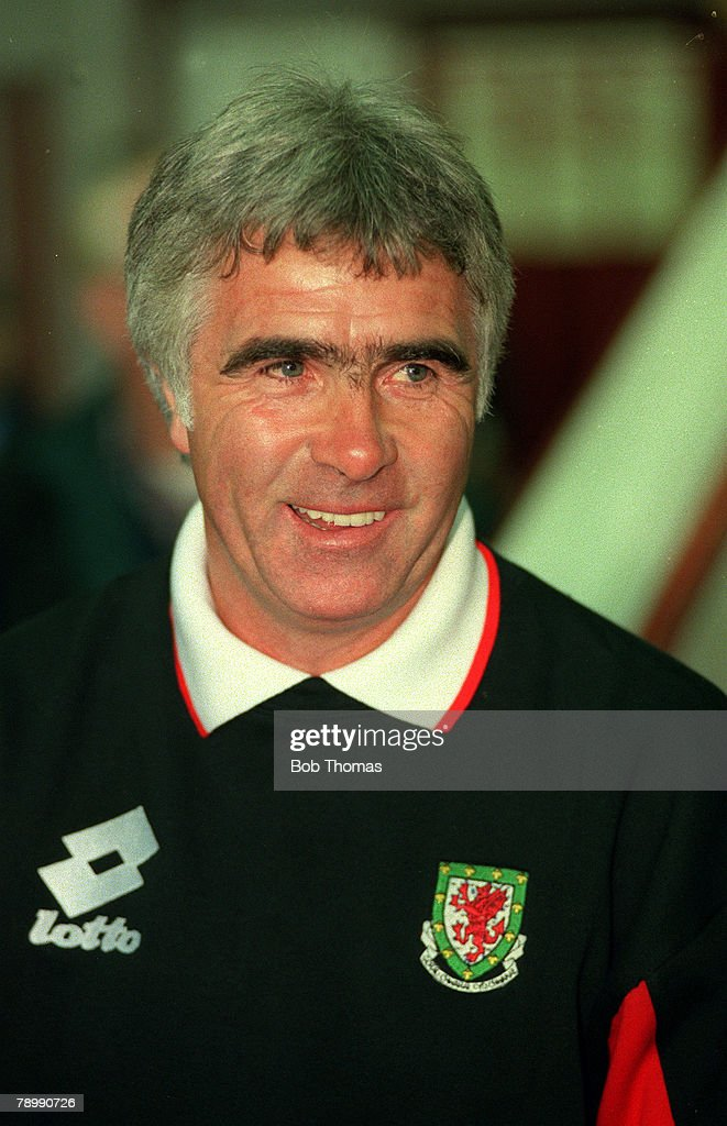 Sport. Football. pic: 1996. World Cup Qualifier in Cardiff. Wales 1.v Holland 3. Bobby Gould, Wales Manager. : News Photo