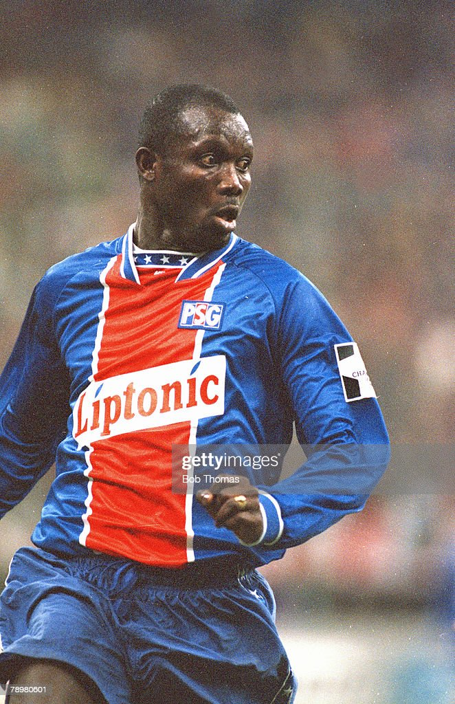 19th April 1995, UEFA, Champions League, AC, Milan 2 v Paris Saint Germain 0, George Weah, Paris St Germain striker