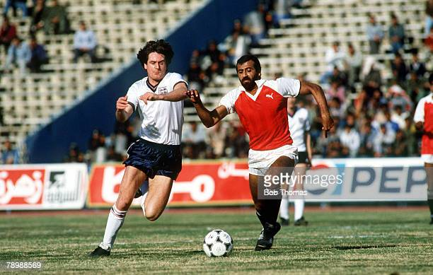 19th January 1986 Friendly International in Cairo Egypt 0 v England 4 England's Terry Fenwick battles for the ball with Egypt's Magdi Abdelghani