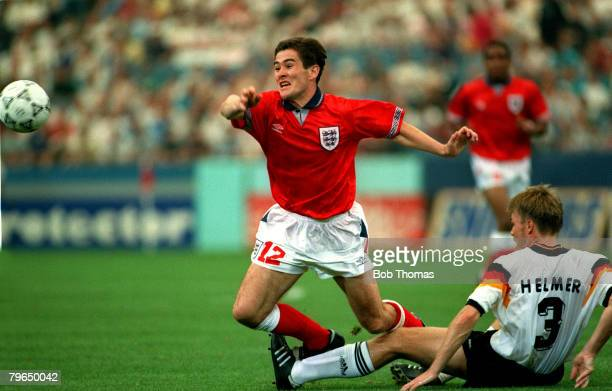 19th June 1993, U,S, Cup '93, at the Pontiac Silverdome, England 1, v Germany 0, England's Nigel Clough stopped by Germany's Thomas Helmer