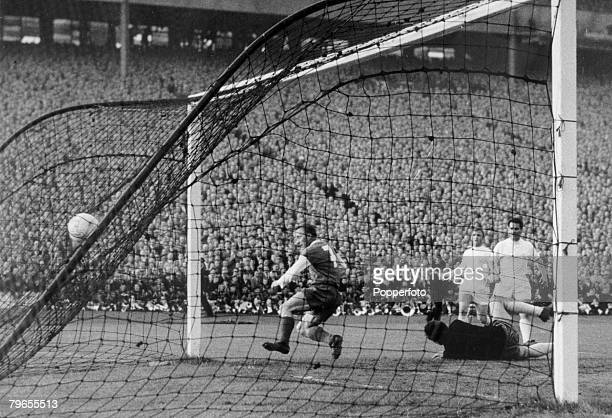 19th May 1960, European Cup Final, Real Madrid 7 v Eintracht Frankfurt 3, Eintracht's Richard Kress , scores the first goal in the match at Hampden...