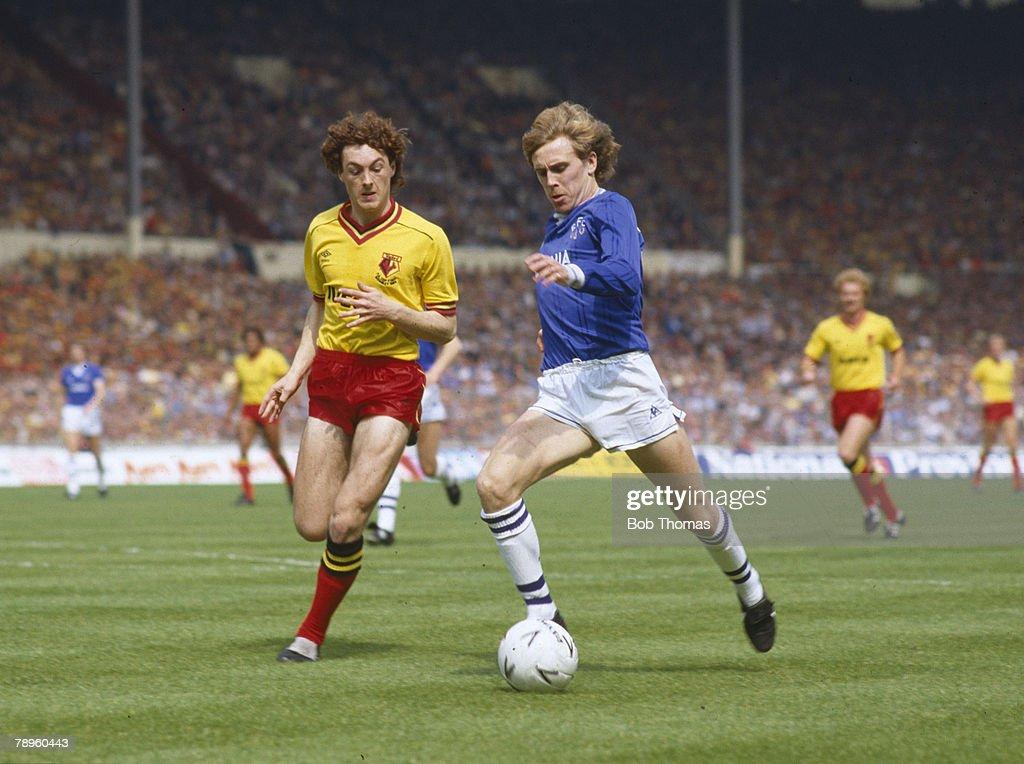 BT Sport. Football. pic: 19th May 1984. 1984 FA. Cup Final at Wembley. Everton 2 v Watford 0. Everton's Kevin Richardson is chased by Watford's David Bardsley. : News Photo