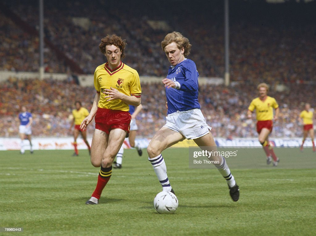 19th May 1984, 1984 FA, Cup Final at Wembley, Everton 2 v Watford 0, Everton's Kevin Richardson is chased by Watford's David Bardsley