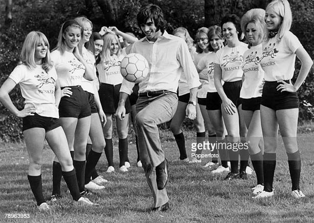 19th October 1969 Manchester United and Northern Ireland'superstar' George Best shows his skills to the ' Blinkers' girls team George Best is...
